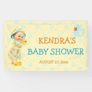 Rubber Duck Ducky Bubbles Gender Neutral Yellow Banner