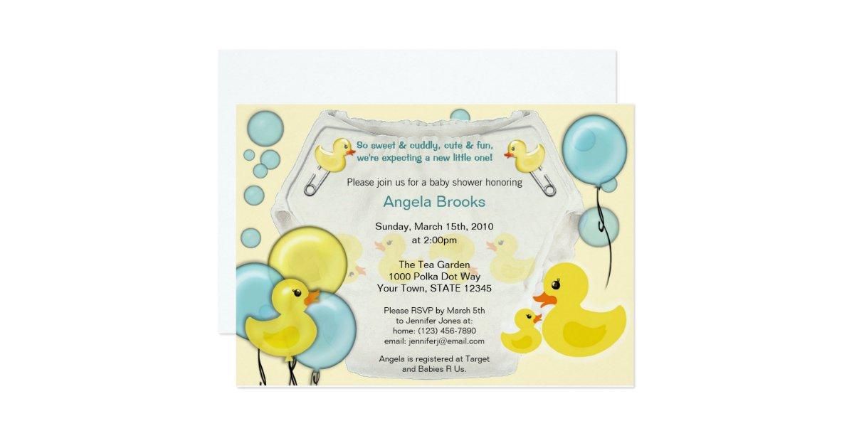 rubber duck ducky diaper baby shower invitation zazzle