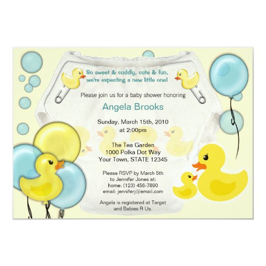 rubber duck ducky diaper baby shower invitation  zazzle, Baby shower