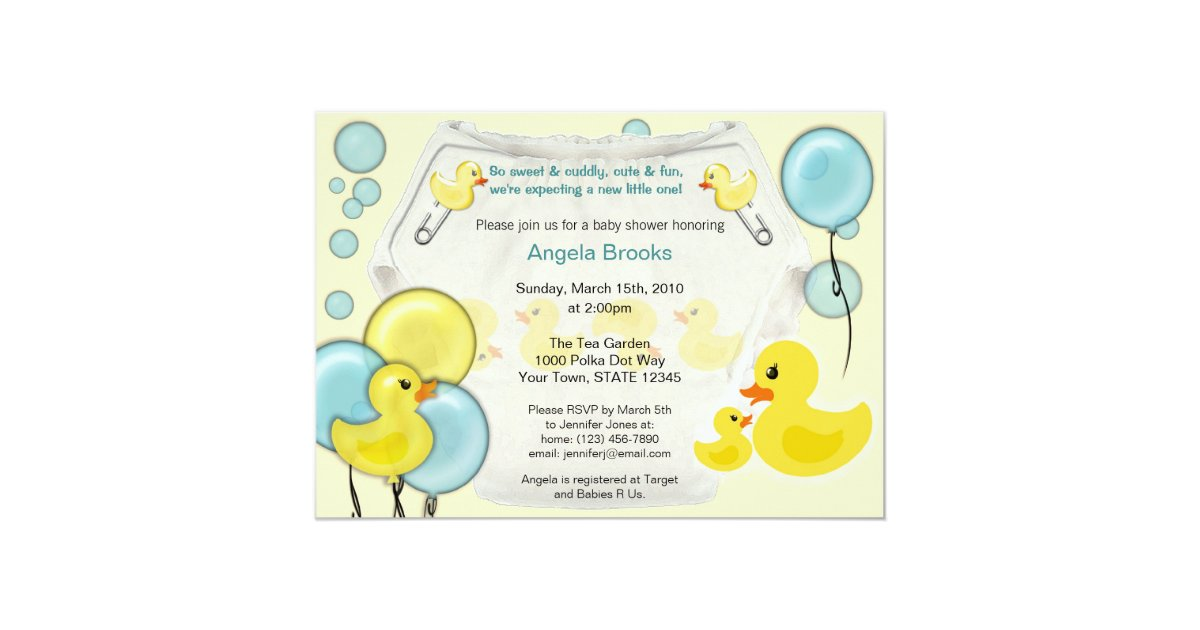 Rubber Duck Ducky Diaper Baby Shower Invitation | Zazzle.com