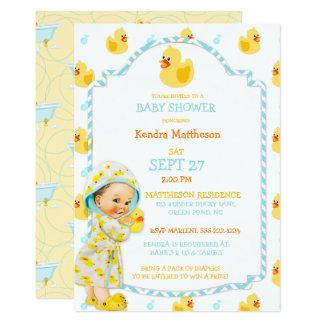 Rubber Duck Ducky Gender Neutral Aqua Yellow Card