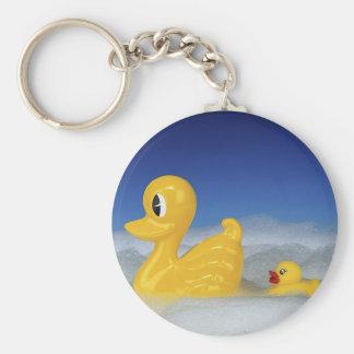 Rubber Duck Family Basic Round Button Keychain
