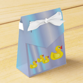 Rubber Duck Family on Blue Favor Box