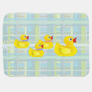 Rubber Duck Family on Henry Plaid Receiving Blanket