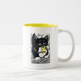 Rubber Duck & Kitten, Block Print Two-Tone Coffee Mug