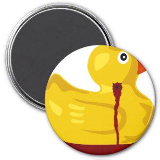 Rubber Duck Neck Shot - Bleeding Rubber Ducky 3 Inch Round Magnet