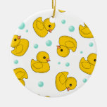 Rubber Duck Pattern Double-Sided Ceramic Round Christmas Ornament