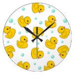 Rubber Duck Pattern Large Clock