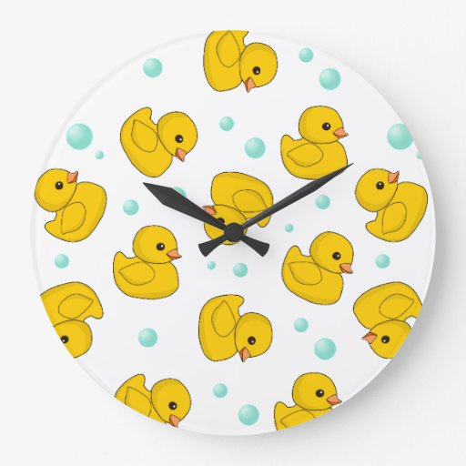 Rubber Duck Pattern Large Clock