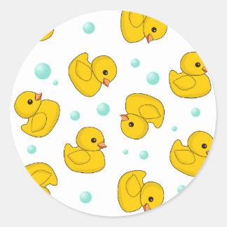 Rubber Duck Pattern Round Stickers