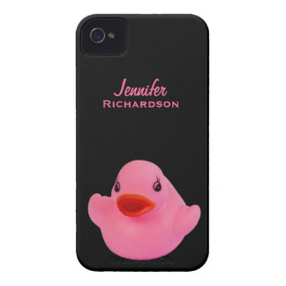 Rubber duck pink cute custom girls name, gift iPhone 4 cover
