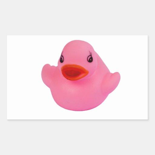 Rubber duck pink cute fun sticker, stickers, gift rectangular sticker