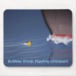 Rubber Duck Playing Chicken Mouse Pad
