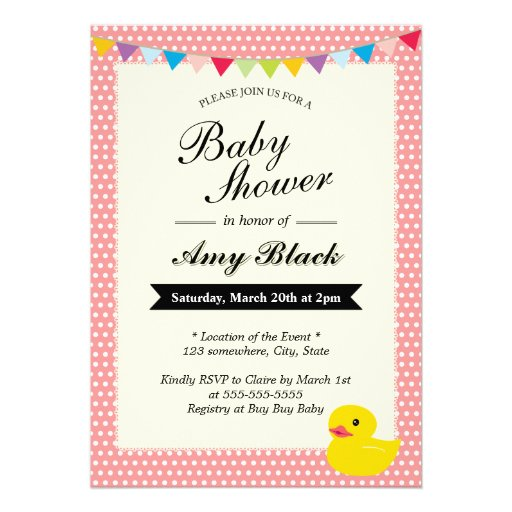 Rubber Duck Sweet Dots Pink Baby Shower Invitation (front side)