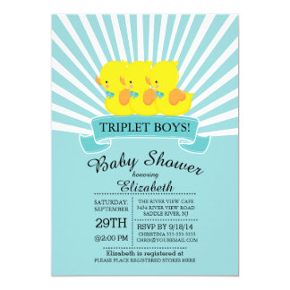 Triplet invitations announcements zazzle rubber duck triplet boys baby shower invitations filmwisefo Choice Image
