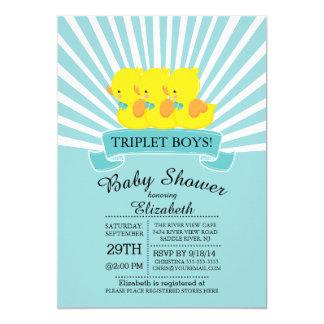Rubber Duck Triplet Boys Baby Shower Invitations