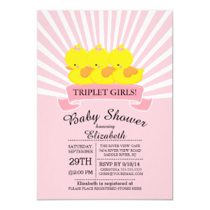 Rubber ducky baby shower invitations cute baby shower invitations rubber duck triplet girls baby shower invitations 5 filmwisefo