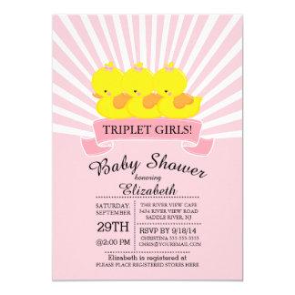 Rubber Duck Triplet Girls Baby Shower Invitations