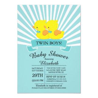 """Rubber Duck Twin Boys Baby Shower Invitation 5"""" X 7"""" Invitation Card"""
