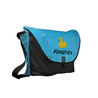 Rubber Duck with Bubbles, Blue Water Custom Diaper Messenger Bag