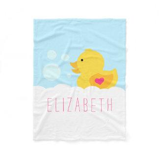 Rubber Duck With Pink Heart Fleece Blanket