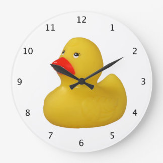 Rubber duck yellow fun cute novelty gift round wall clock