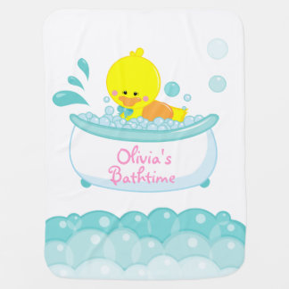 rubber duckie bath time customizable baby blanket