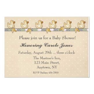 "Rubber Duckies Baby Shower 5"" X 7"" Invitation Card"
