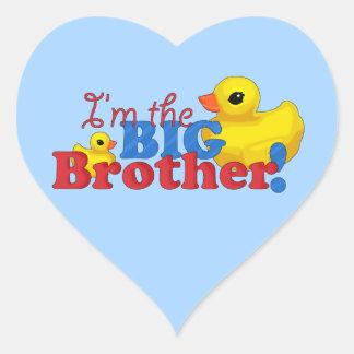"""Rubber Duckies - Big Brother"" Heart Sticker"
