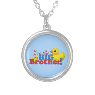 """""""Rubber Duckies - Big Brother"""" Round Pendant Necklace"""