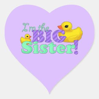 """Rubber Duckies - Big Sister"" Heart Sticker"