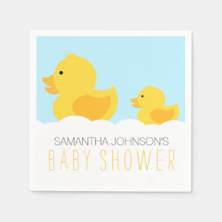 Rubber Duckies Yellow Neutral Baby Shower Paper Napkin