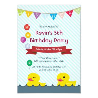 Rubber Ducks Blue Stripes Birthday Invitations