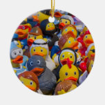 Rubber Ducks Double-Sided Ceramic Round Christmas Ornament