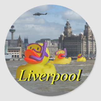 Rubber Ducks On The Mersey Round Stickers