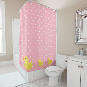 Rubber Ducks Swimming On Pink Polka Dots Shower Curtain