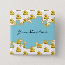 Rubber Ducky and Blue Bubbles Banner Baby Shower Pinback Button
