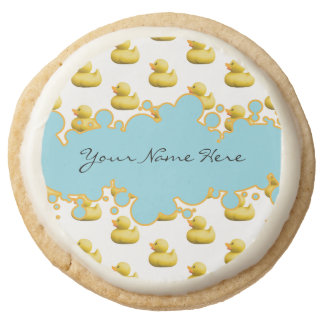 Rubber Ducky and Blue Bubbles Banner Baby Shower Round Shortbread Cookie