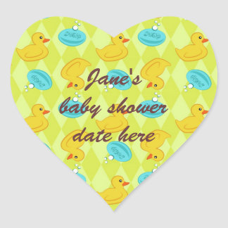 Rubber ducky and soap pattern heart sticker