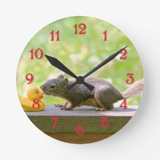 Rubber Ducky and Squirrel Kissing Round Wallclock