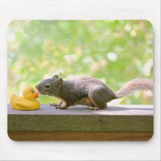Rubber Ducky and Squirrel Kissing Mouse Pad