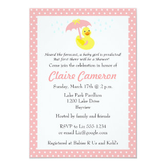 Rubber Ducky Baby Girl Shower invite - customize