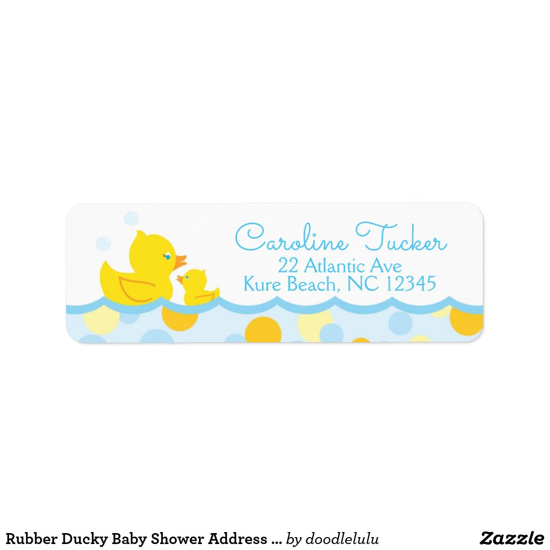 Rubber Ducky Baby Shower Address Label blue yellow