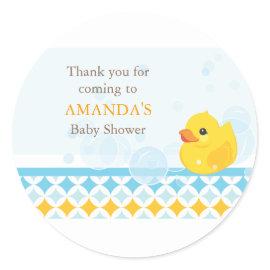 Rubber Ducky Baby Shower Favor Sticker