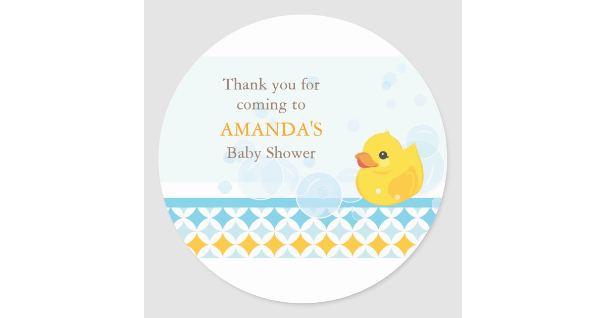Rubber Ducky Baby Shower Favor Sticker   Zazzle.com