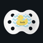 """Rubber Ducky Baby Shower Gift Pacifier<br><div class=""""desc"""">matching shower invitation and party items available. email seasidepapercompany@gmail.com</div>"""