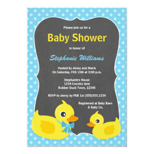 Rubber Ducky Baby Shower Invitation Blue U0026 Yellow
