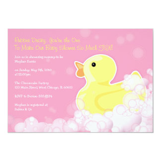 rubber ducky baby shower invitation pink