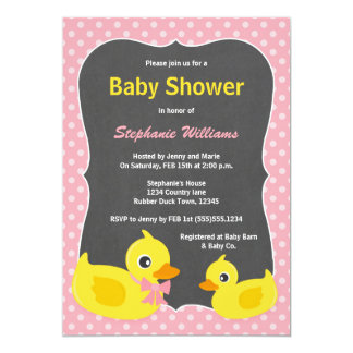 Rubber Ducky Baby Shower Invitation Pink & Yellow