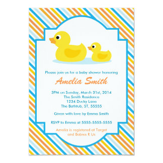 Rubber Ducky Baby Shower Invitation - Unisex, Boy
